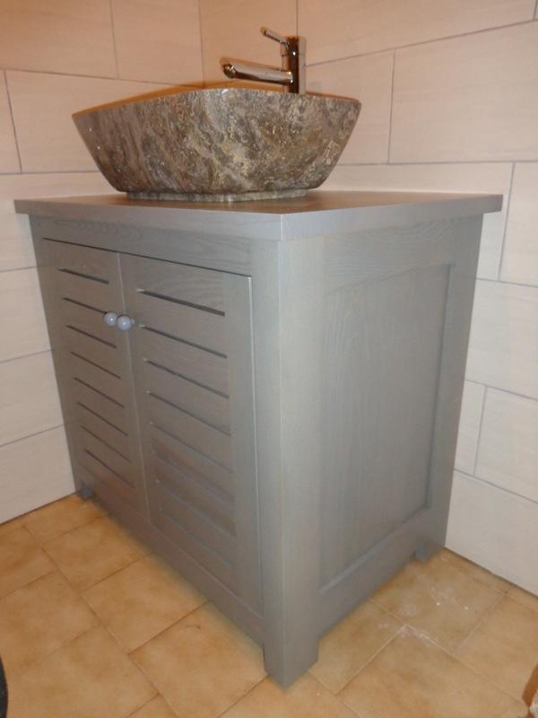 Cr ation de deux meubles sous vasque lc creation mobilier for Meuble sous vasque sur mesure